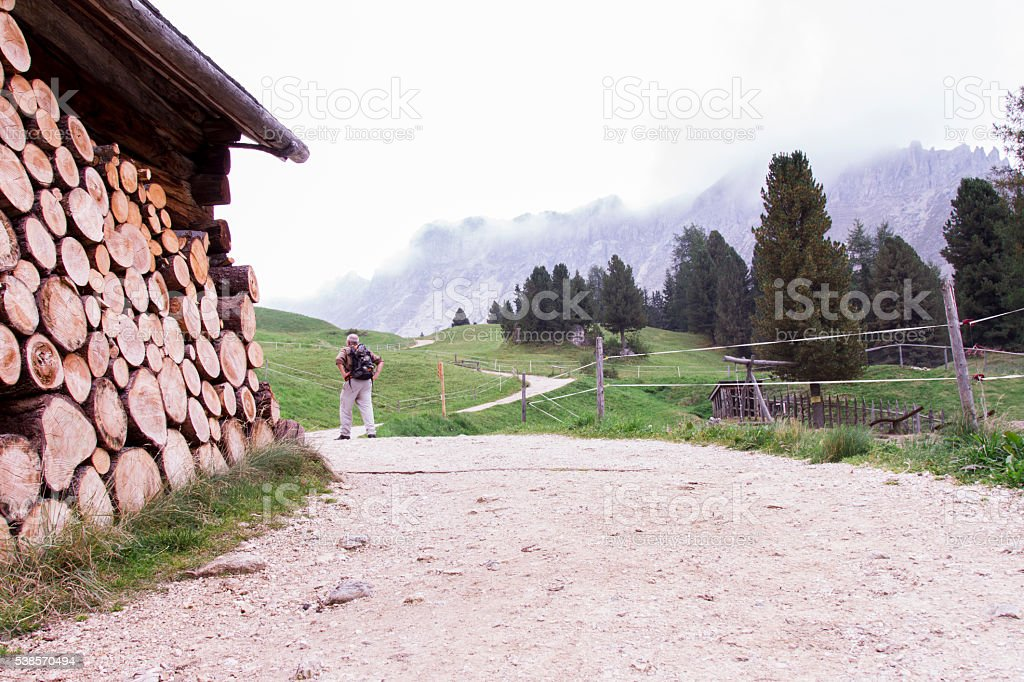 sentiero di montagna per trekking con baita e legni accatastati stock photo