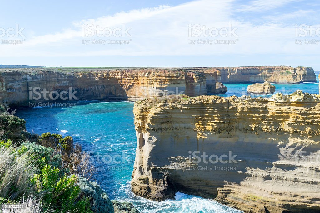 Sentinal rocks in the sea by the Great Ocean Road stock photo