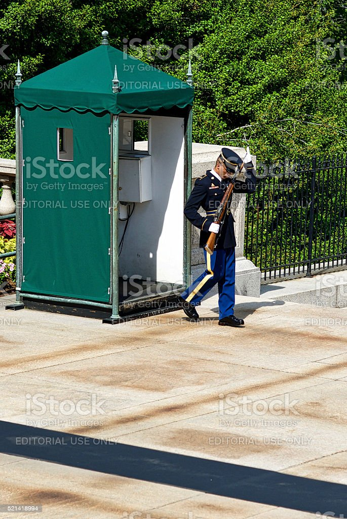 Sentinel, Inspection, Tomb of the Unknown Soldier, Arlington National Cemetery stock photo