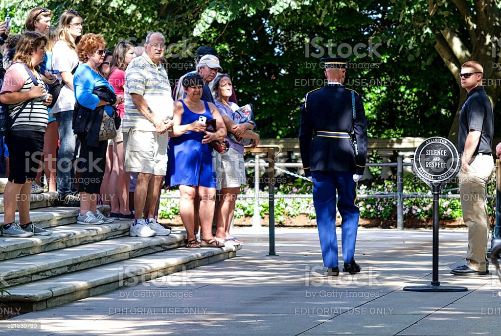 Sentinel, Marching, Rearview, Tomb of the Unknown Soldier stock photo