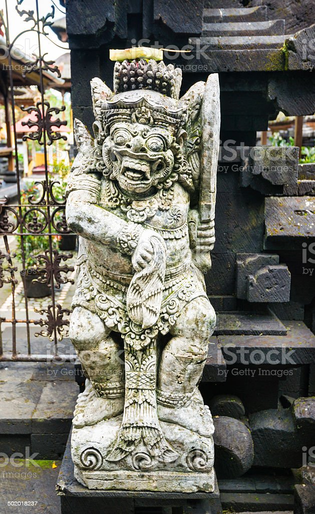 Sentinel Stone Statue at Besakih Temple on Bali, Indonesia stock photo
