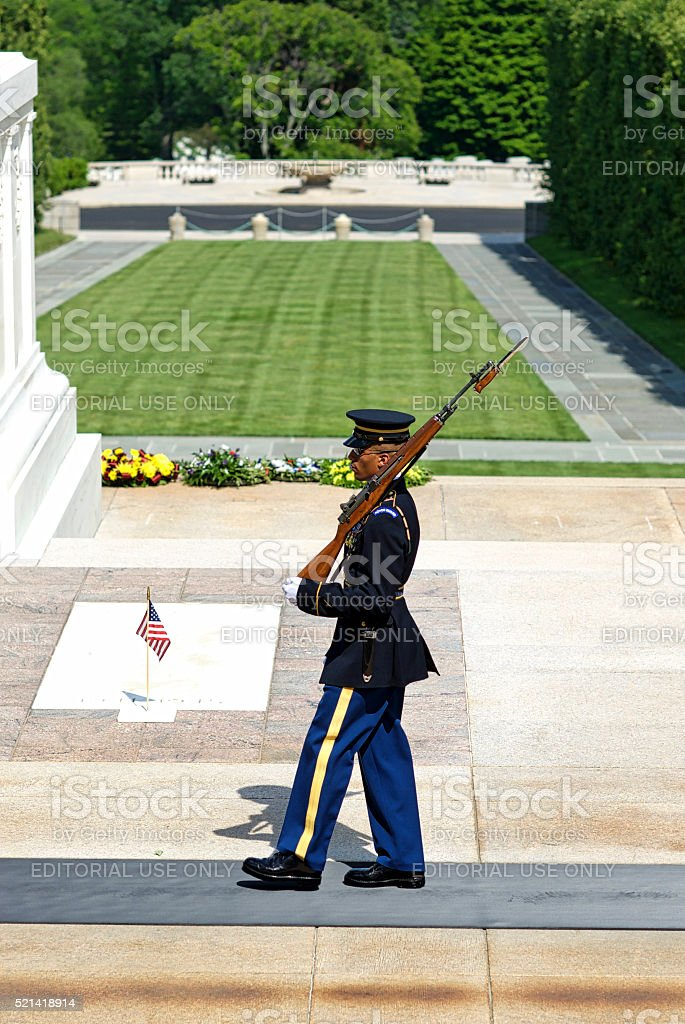 Sentinel, Tomb of the Unknown Soldier, Arlington National Cemetery stock photo
