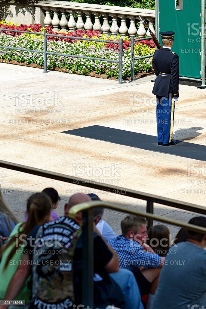 Sentinel, Tourists, Tomb of the Unknown Soldier, Arlington National Cemetery stock photo