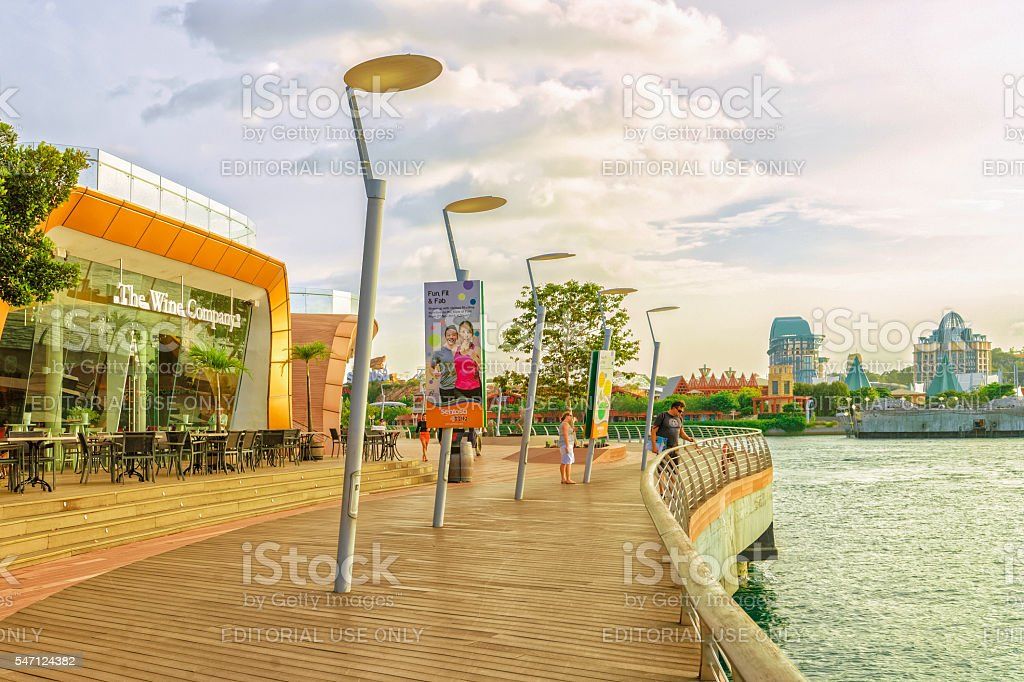 Sentosa Boardwalk leading from Singapore Mainland to Sentosa Island stock photo