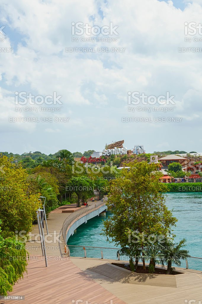 Sentosa Boardwalk leading to Sentosa Island in Singapore stock photo