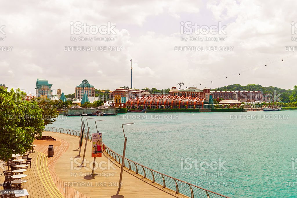 Sentosa Boardwalk leads to Sentosa Island in Singapore stock photo