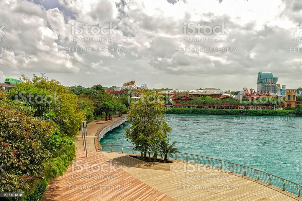 Sentosa Express and Sentosa Boardwalk lead to Sentosa Island stock photo
