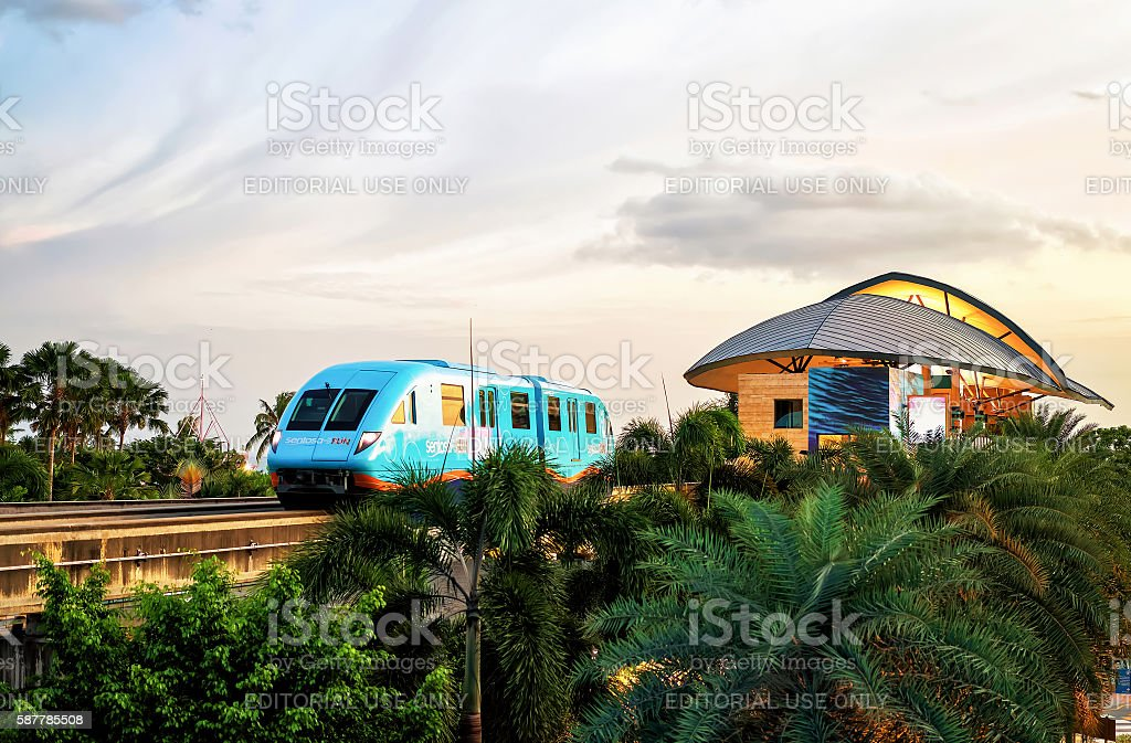 Sentosa Express monorail train in Singapore in the evening stock photo