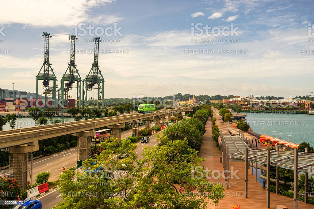 Sentosa Express monorail train in Singapore stock photo