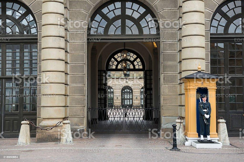 Sentry at Swedish Royal Palace, Gamla Stan, Stockholm stock photo