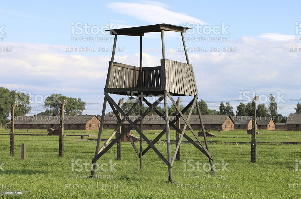 Sentry box at Auschwitz Birkenau royalty-free stock photo