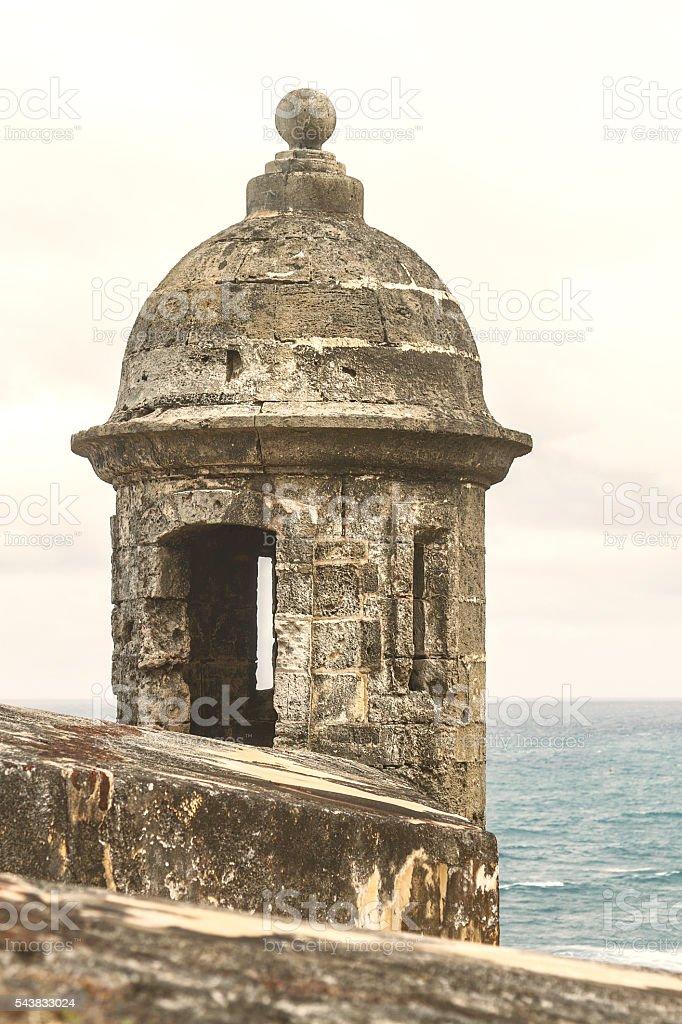 Sentry box at 'El Morro' in San Juan Puerto Rico stock photo