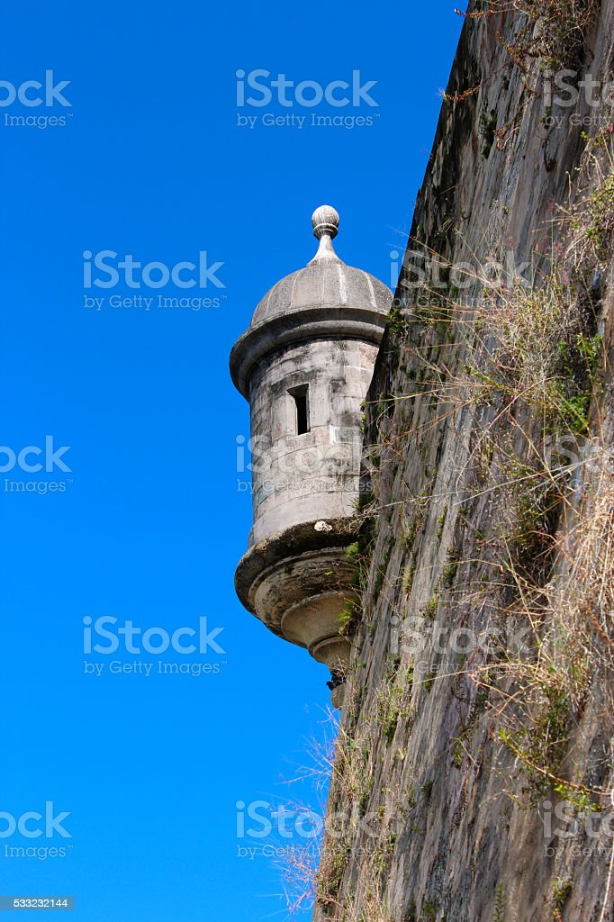 Sentry House at La Princesa Wall Old San Juan stock photo