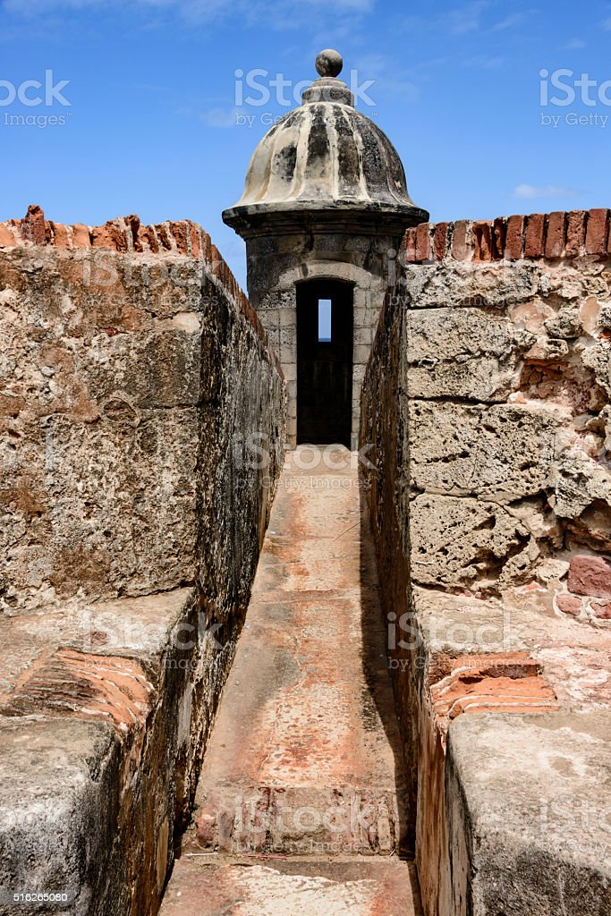 Sentry tower Morro Castle, Old San Juan, Puerto Rico stock photo
