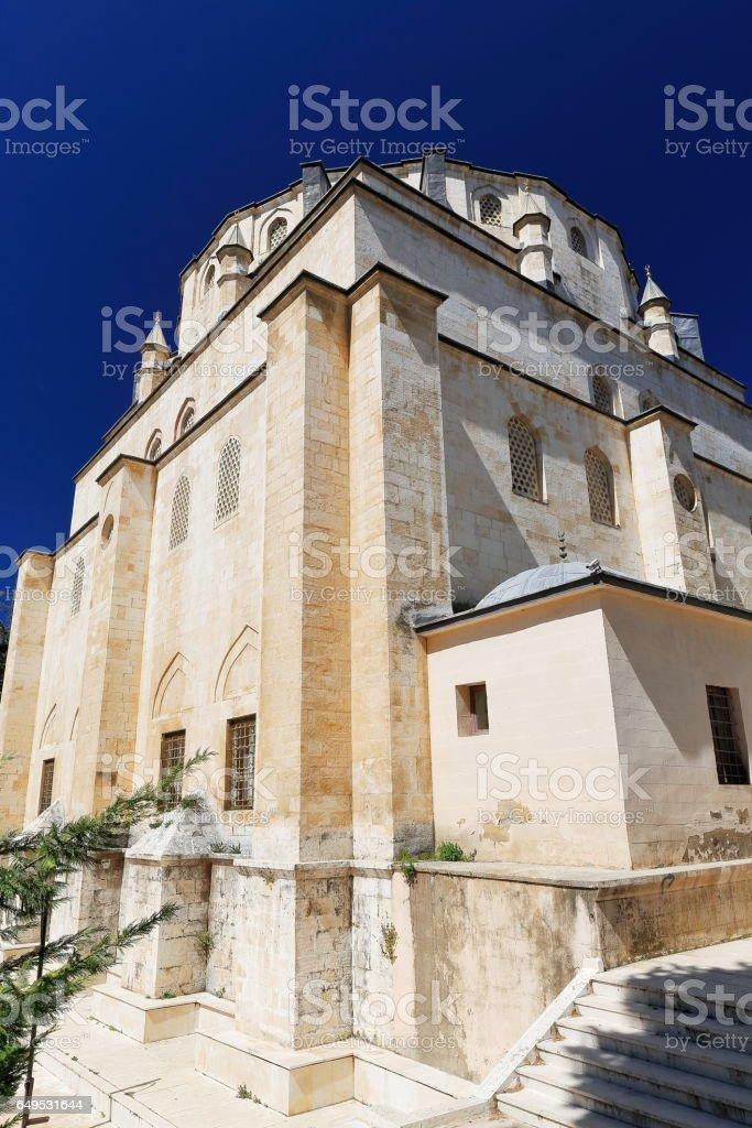 SE.-NW.corner and rear facade. Ketenci Ömer Pasa Camii-mosque. Elmali-Turkey. 1875 stock photo