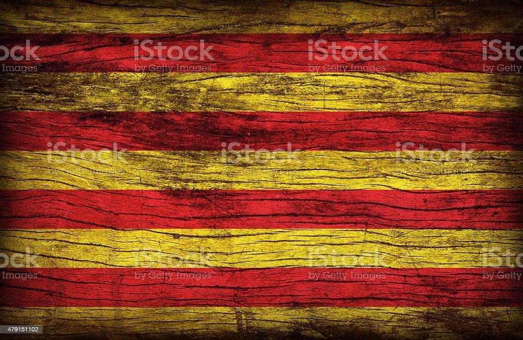 Senyera flag flag pattern on wooden board texture stock photo