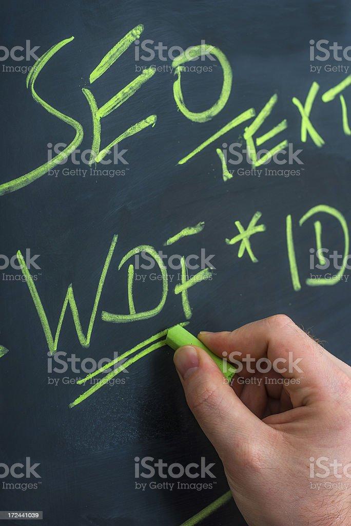 Seo formula wdf and idf on blackboard stock photo