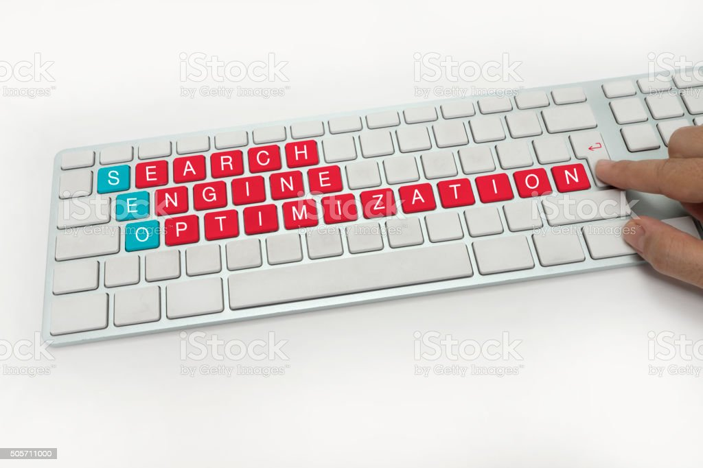 Seo , words on computer Keyboard stock photo
