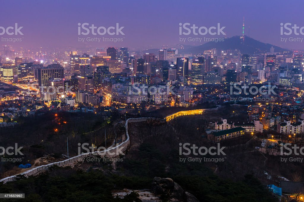 Seoul at Dusk stock photo