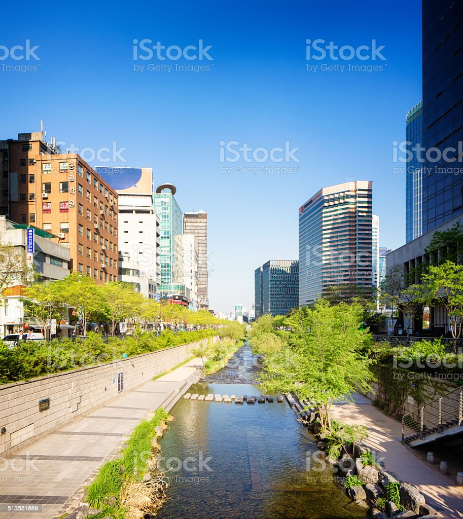 Seoul Cheonggyechon River and park on sunny Spring day stock photo