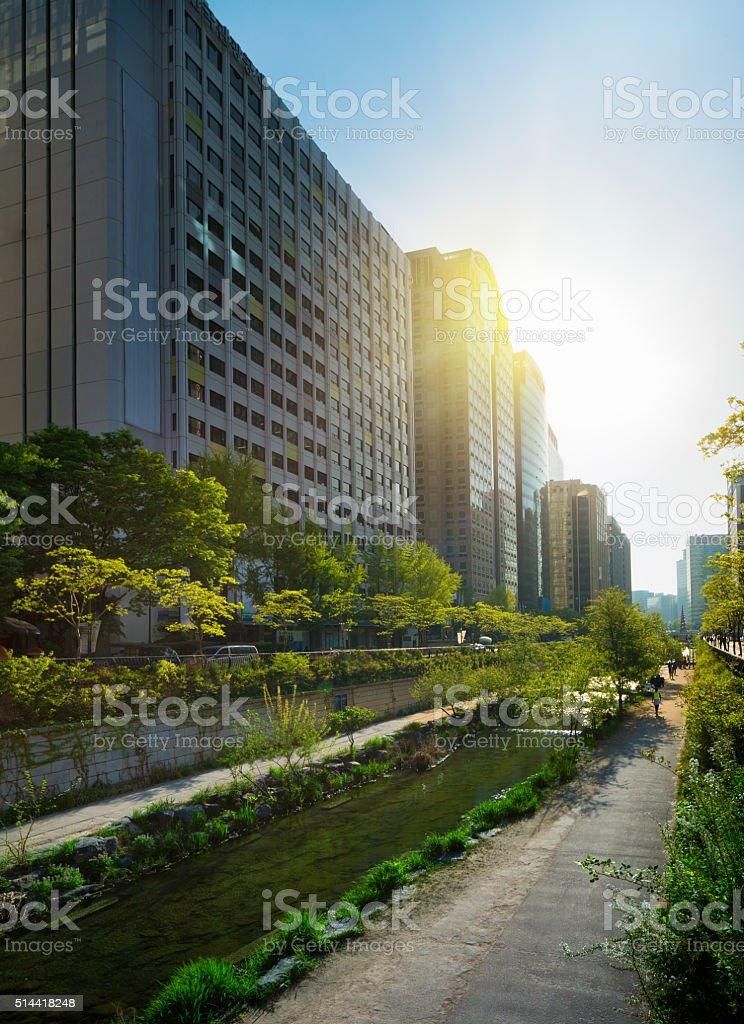 Seoul Cheonggyechon River boardwalk on sunny Spring day stock photo