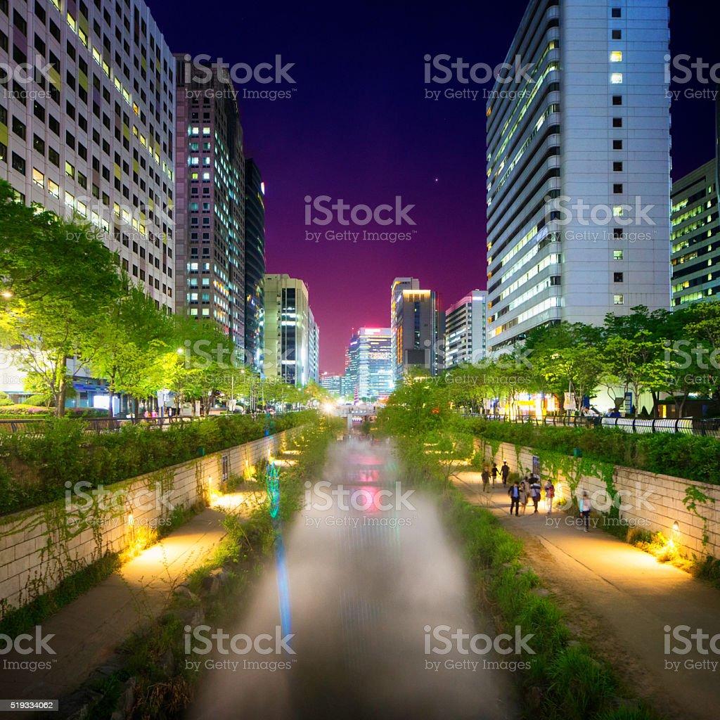 Seoul Cheonggyechon River promenade at night Seoul stock photo