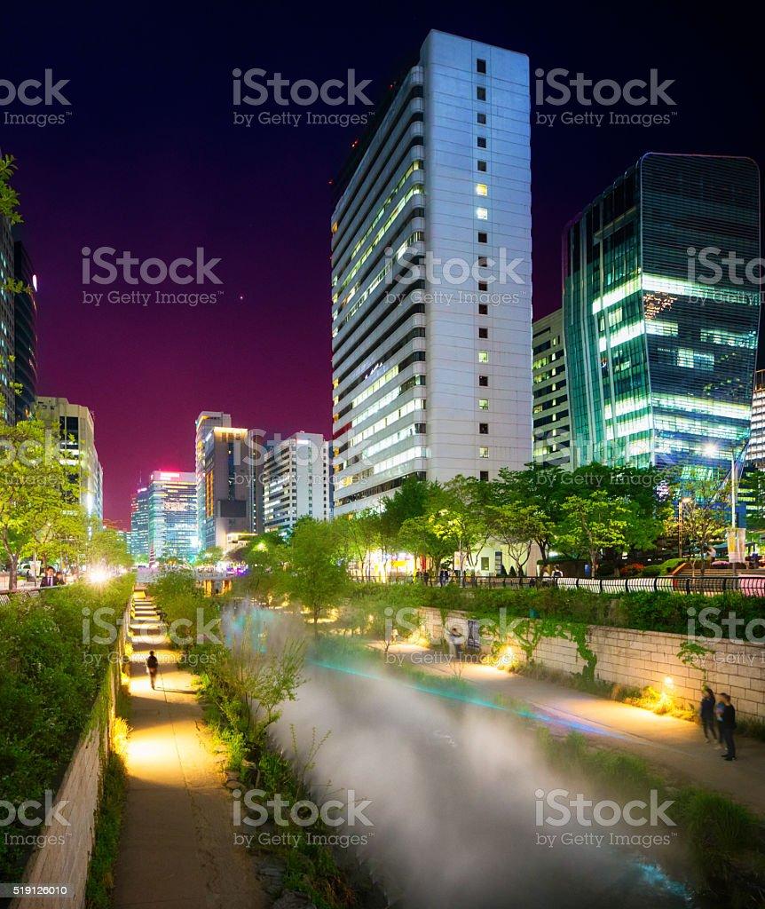Seoul Cheonggyechon River promenade oblique view at night stock photo