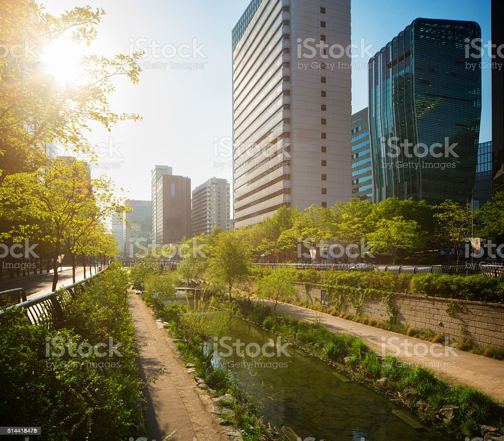 Seoul Cheonggyechon River promenade oblique view with sunset stock photo