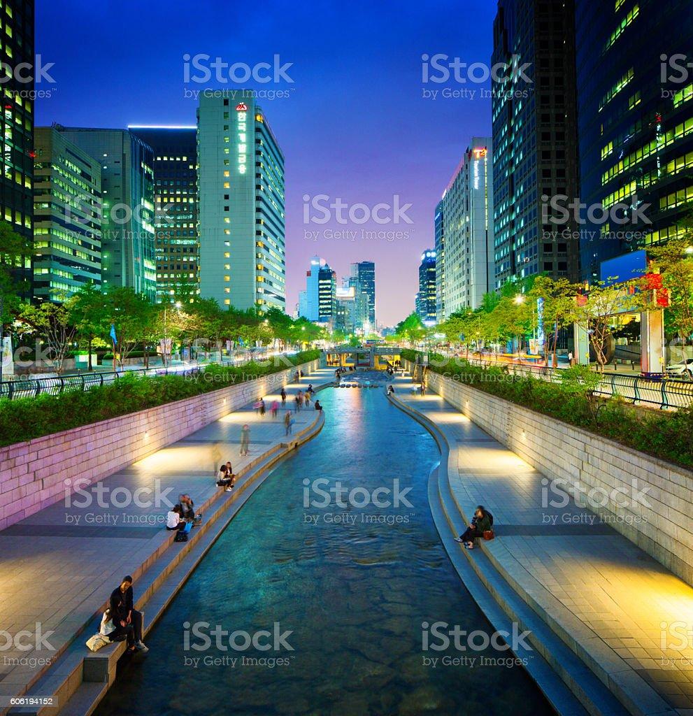 Seoul Cheonggyechon stream promenade at night stock photo