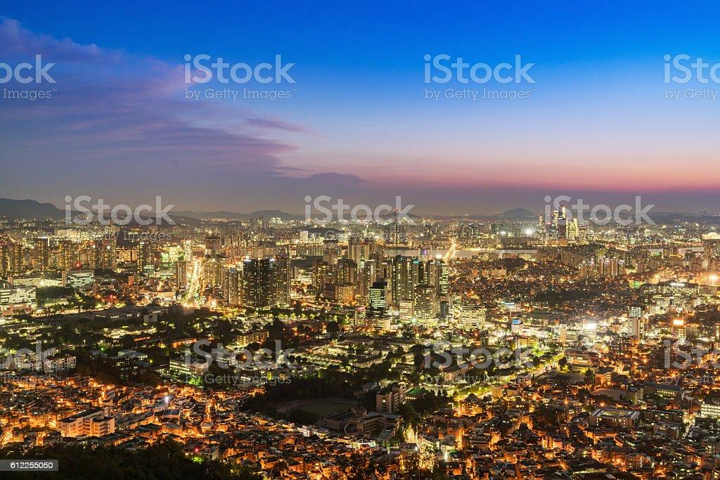 Seoul City at Night South Korea stock photo