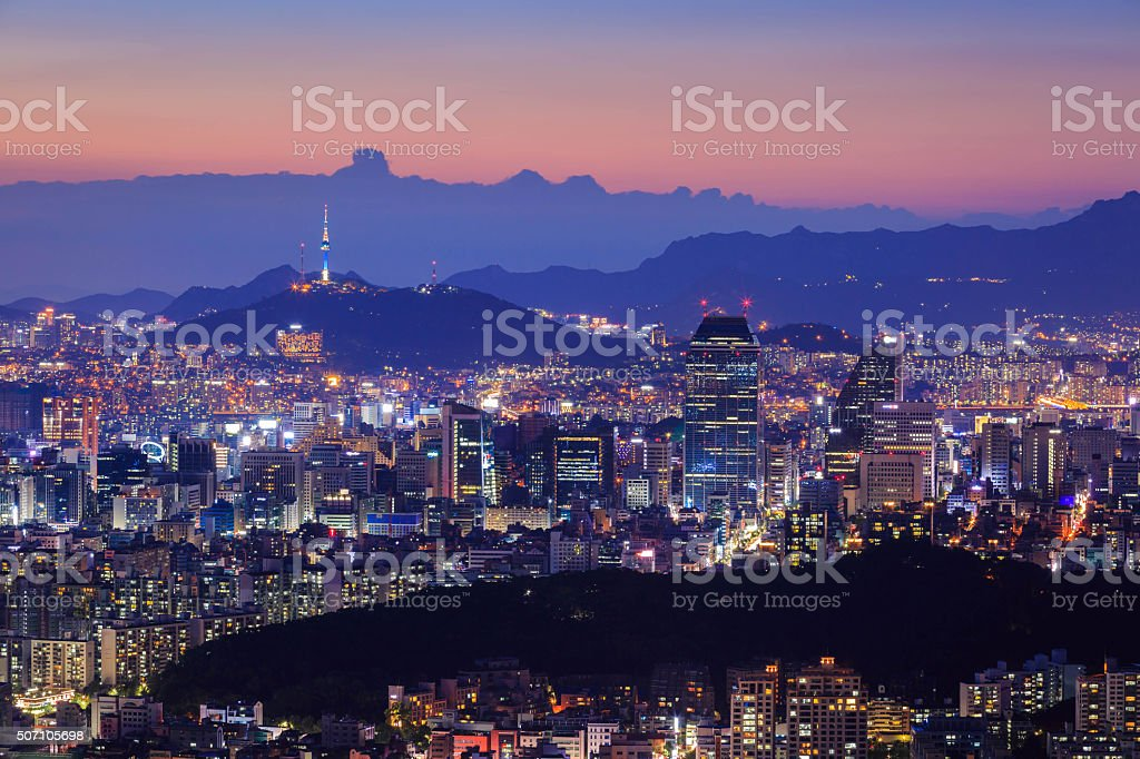 Seoul City in Twilight with Seoul Tower, South Korea stock photo