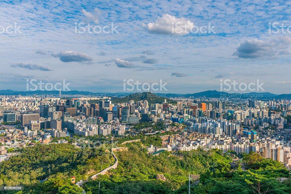 Seoul City Skyline, South Korea stock photo