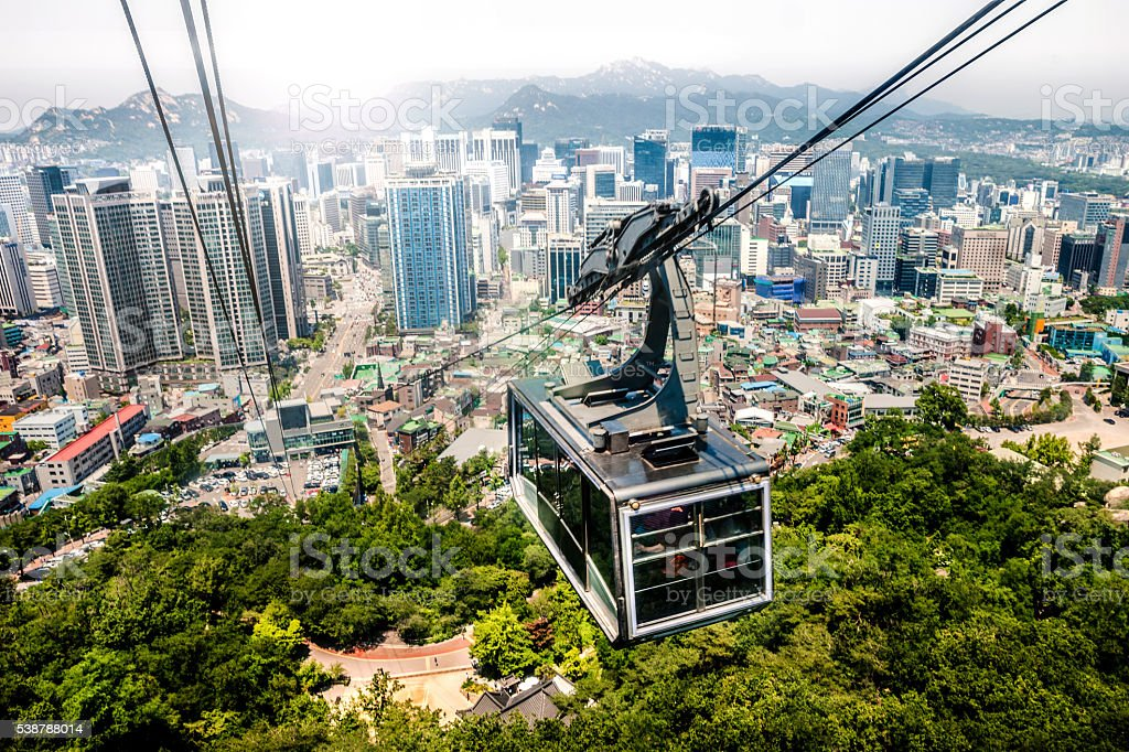 Seoul cityscape and cable car stock photo
