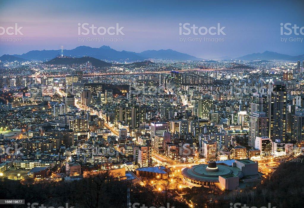 Seoul Cityscape At Dusk stock photo