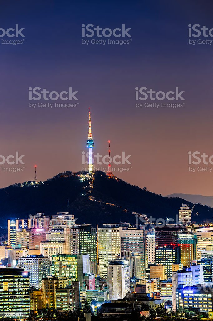 Seoul Cityscape at Night stock photo