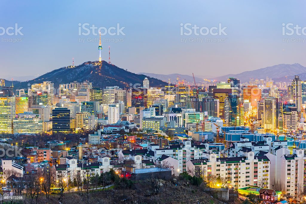 Seoul cityscape at twilight in South Korea stock photo