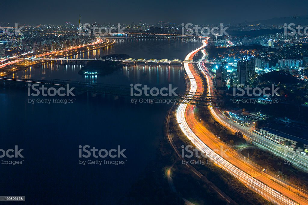 Seoul Cityscape with Han River stock photo