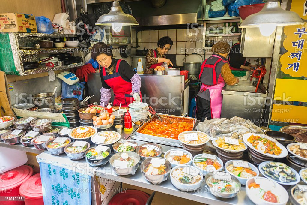 Seoul cooking lunches at food stall in Namdaemun Market Korea royalty-free stock photo