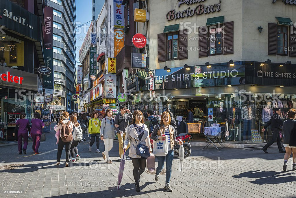 Seoul crowds in busy downtown shopping district South Korea stock photo