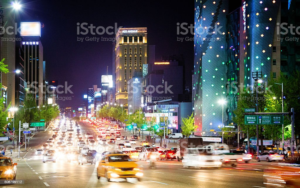 Seoul Dosan-Daero boulevard at night stock photo