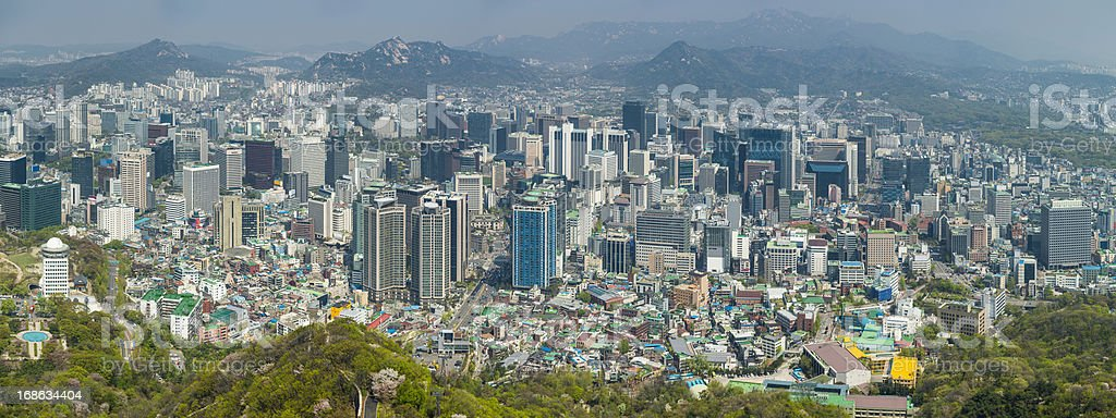 Seoul downtown crowded skyscraper cityscape panorama South Korea stock photo