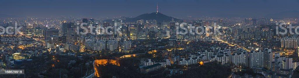 Seoul downtown illuminated cityscape panorama Korea stock photo