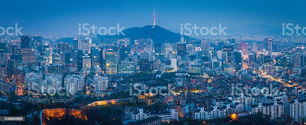 Seoul futuristic cityscape panorama downtown skyscrapers glittering at dusk Korea stock photo