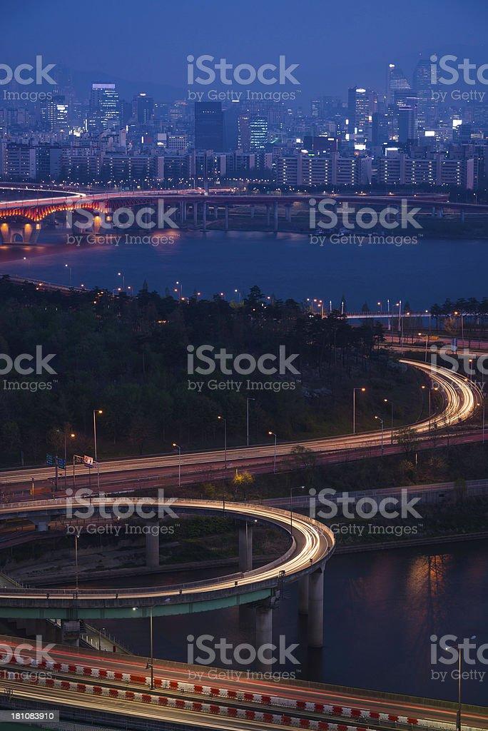 Seoul Gangnam skyscrapers highways bridges illuminated blue dusk Korea royalty-free stock photo