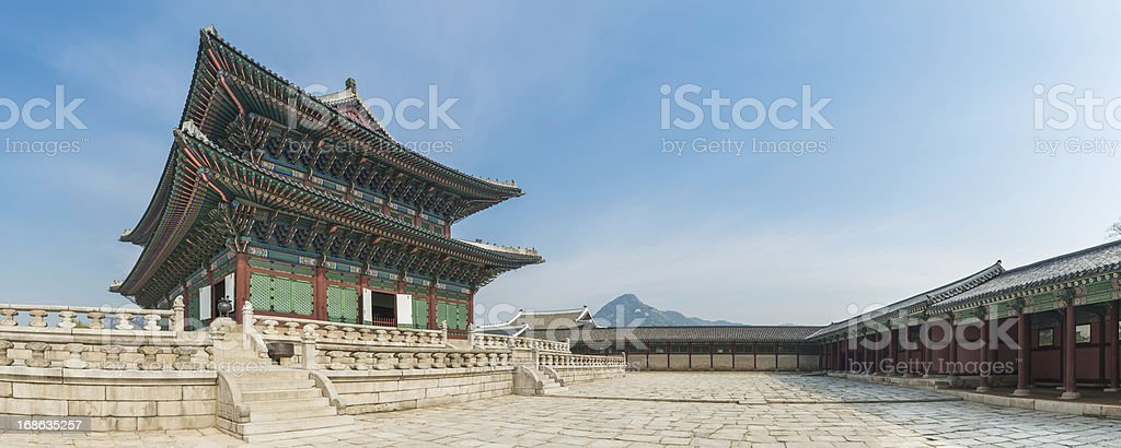 Seoul Gyeongbokgung ornate traditional architecture panorama Korea stock photo