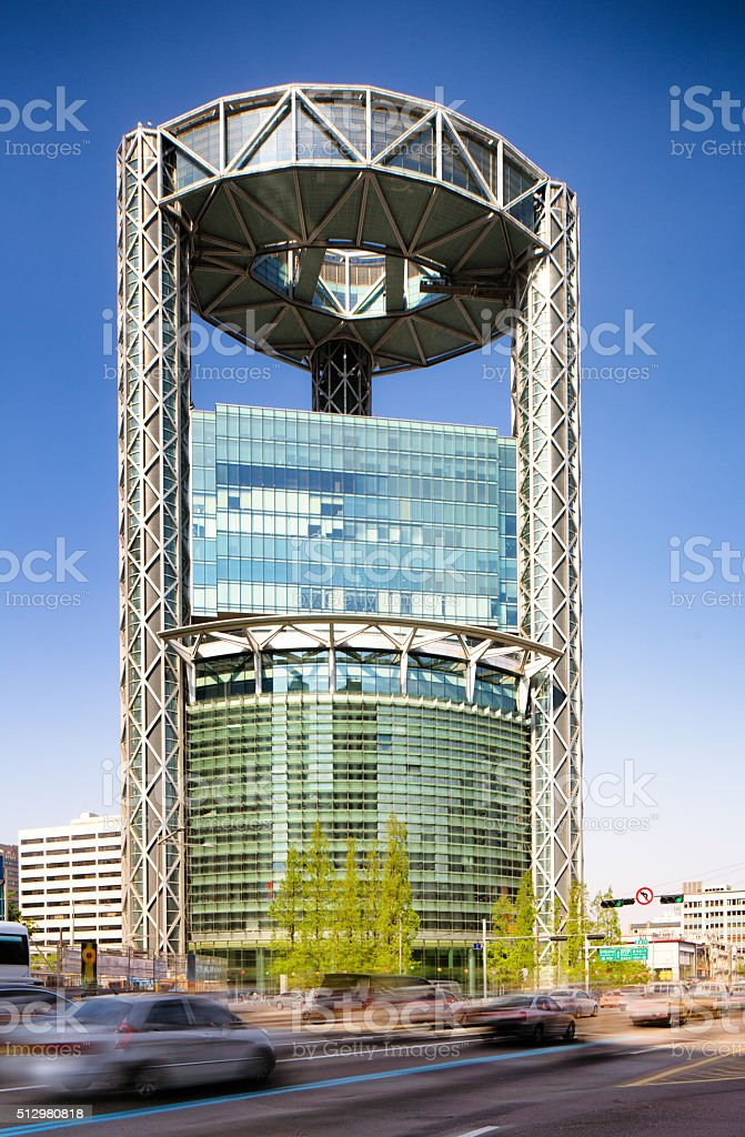 Seoul Jong-ro building on a Spring clear day stock photo