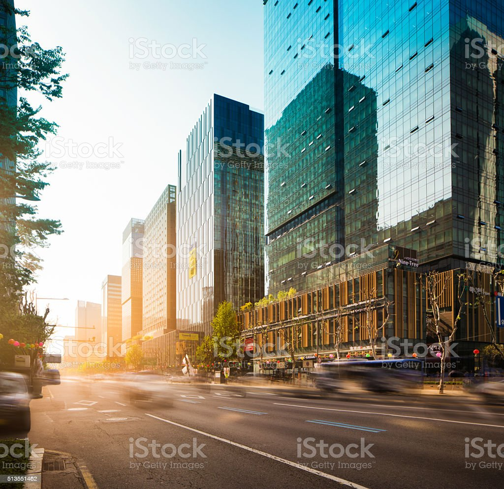 Seoul Jong-ro street at sunset stock photo