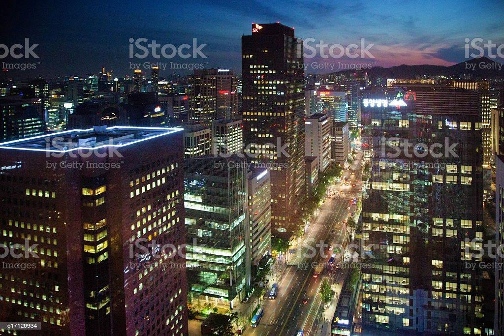 Seoul Jung-ro at night city skyline stock photo