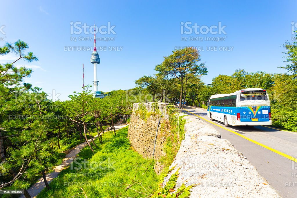 Seoul N Namsan Tower City Wall Nature Bus Road H stock photo