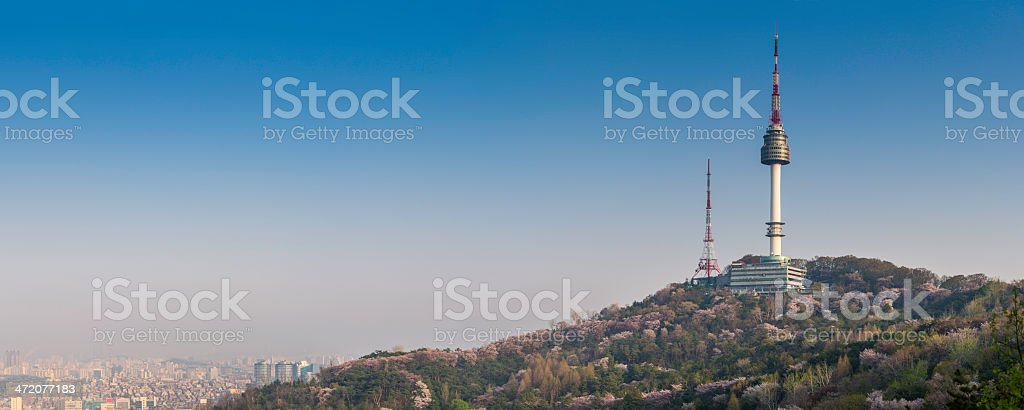 Seoul Namsan Park Tower overlooking downtown cityscape panorama South Korea stock photo